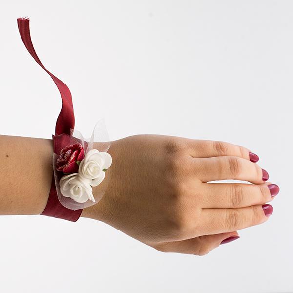 disponibilitate Marea Britanie cel mai bun pret vânzare cu amănuntul Bratara domnisoara de onoare marsala cu flori albe si visinii 8 ...