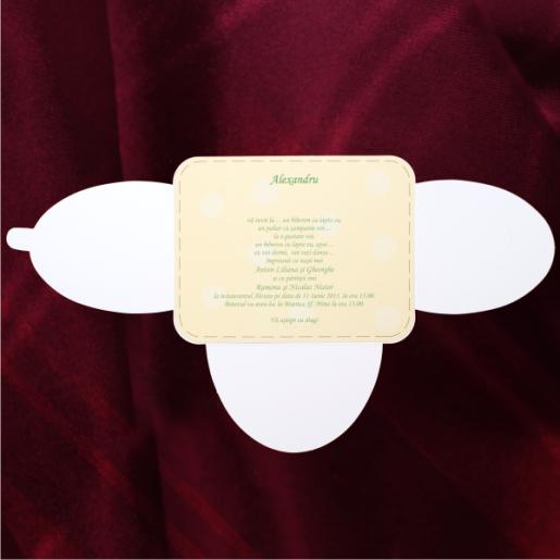Invitatie de botez in forma scutec cu ratusca 115440 TBZ