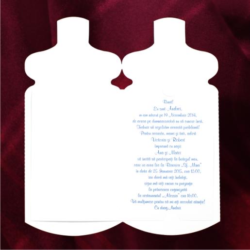 Invitatie de botez bleu cu fundita si ursulet 115441 TBZ