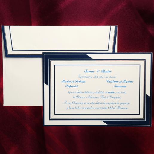 Invitatie de nunta cu chenar albastru 301068 TBZ