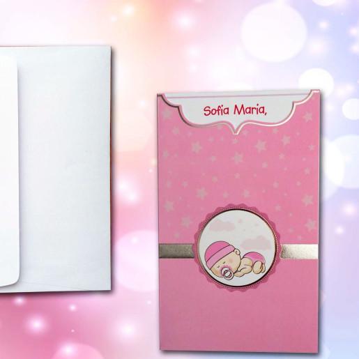 Invitatie de botez roz cu bebe si stelute 102 LARA BABY