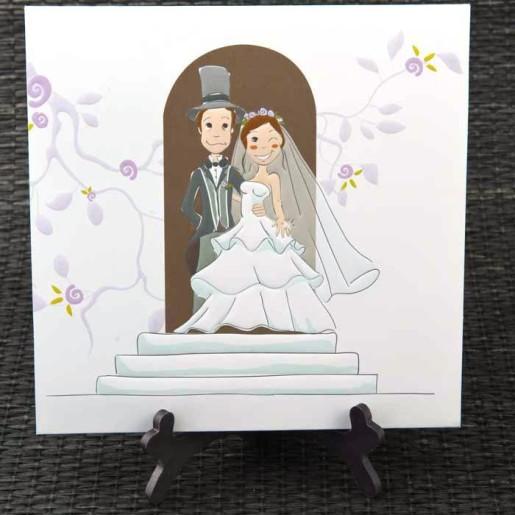 Invitatie de nunta haioasa cu miri 3D 1054 STYLISH