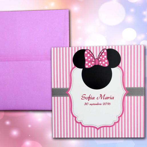 Invitatie de botez Minnie Mouse cu dungi roz