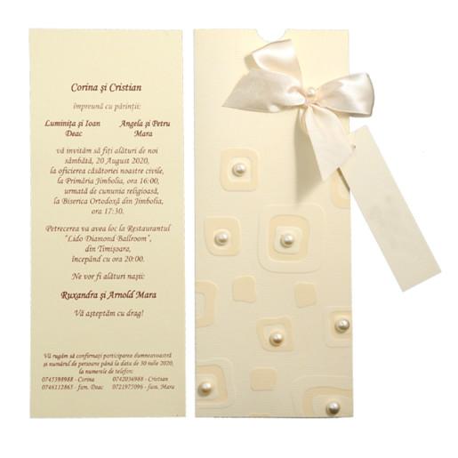 Invitatie de nunta eleganta crem cu fundita si perlute 107005 TBZ