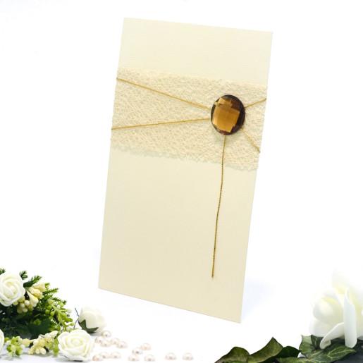 Invitatie de nunta eleganta crem cu piatra maro 107014 TBZ