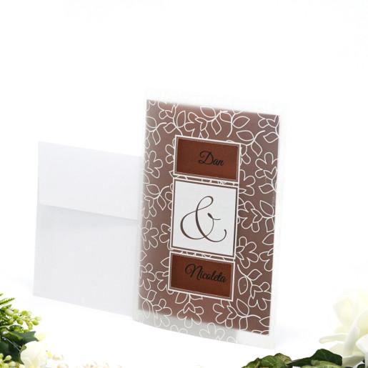 Invitatie de nunta florala maro cu folie plastic 109002 TBZ