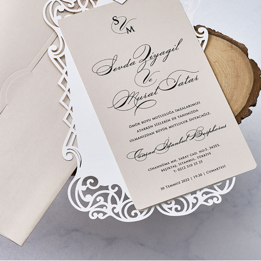 Invitatie cu chenar dantelat 1113 BUTIQLINE