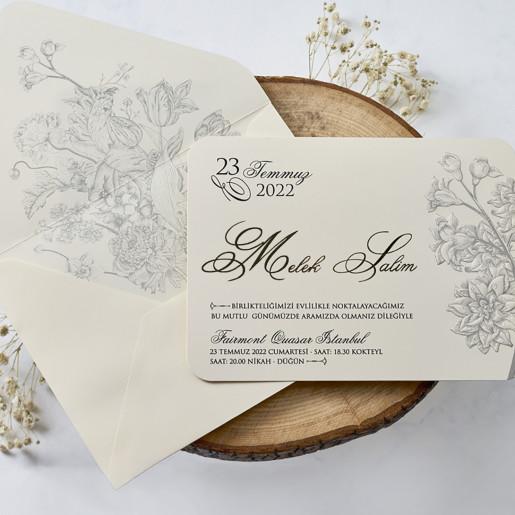 Invitatie de nunta cu modele florale 1123 BUTIQLINE