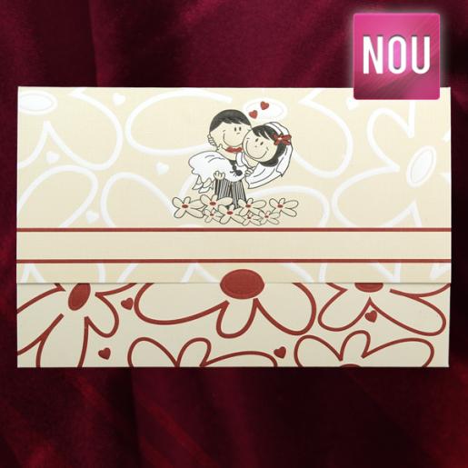 Invitatie de nunta haioasa crem cu insertii florale 140017 TBZ
