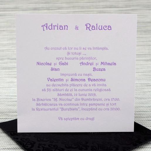 Invitatie de nunta eleganta neagra cu perla alba 1137 Polen