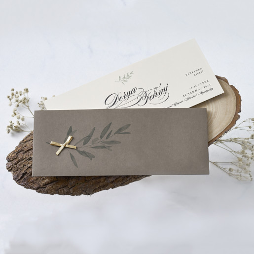 Invitatie de nunta cu fundita si frunze 1152 BUTIQLINE