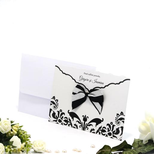 Invitatie de nunta florala cu funda negru si argintiu 115421 TBZ