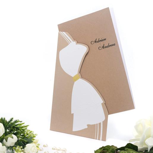 Invitatie de nunta maron deschis si auriu 115436 TBZ