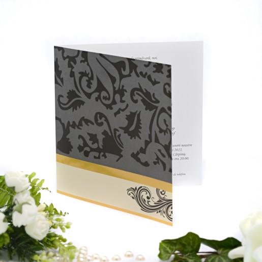 Invitatie de nunta cu nuante de gri negru si auriu 115437 TBZInvitatie de nunta cu nuante de gri negru si auriu 115437 TBZ