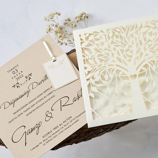 Invitatie de nunta cu copac decupat 1167 BUTIQLINE