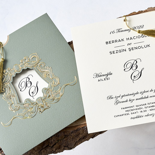 Invitatie de nunta in stil baroc 1182 BUTIQLINE