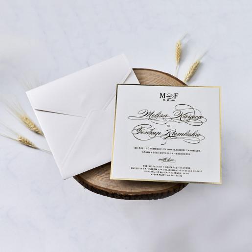 Invitatie cu margini aurii 1186 BUTIQLINE