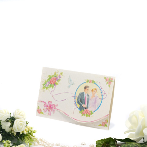 Invitatie de nunta cu miri, trandafiri si panglici 124035 TBZ