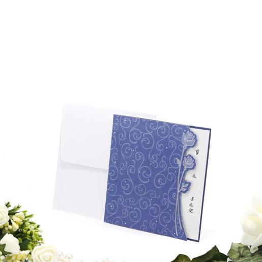 Invitatie de nunta albastra cu model floral 125025 TBZ