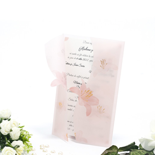 Invitatie de nunta cu calc si crini roz 125035 TBZ