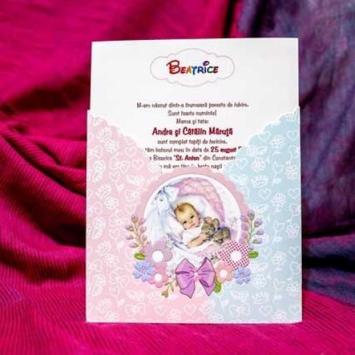 Invitatie de botez eleganta 137 LARA BABY - BEST