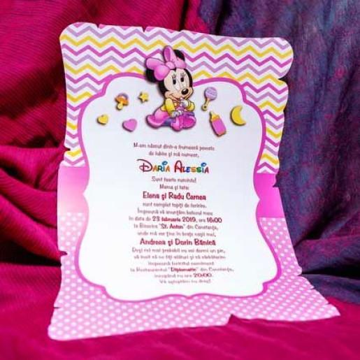 Invitatie de botez papirus cu Minnie Mouse 139 LARA BABY - BEST