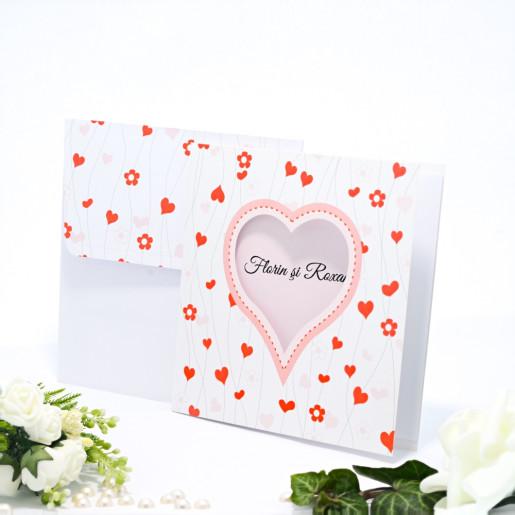 Invitatie de nunta cu floricele si inimioare rosii si roz pal 140010 TBZ