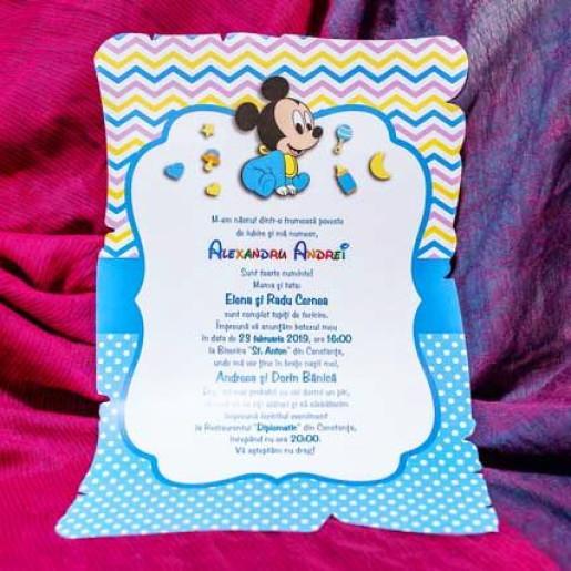 Invitatie de botez papirus cu Mickey Mouse 140 LARA BABY - BEST