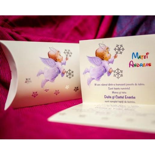 Invitatie de botez cu ingeras si fulgi 141 LARA BABY - BEST