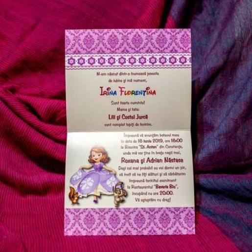 Invitatie de botez cu Printesa Sofia 142 LARA BABY - BEST