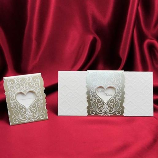 Invitatie de nunta eleganta cu inimioara 148
