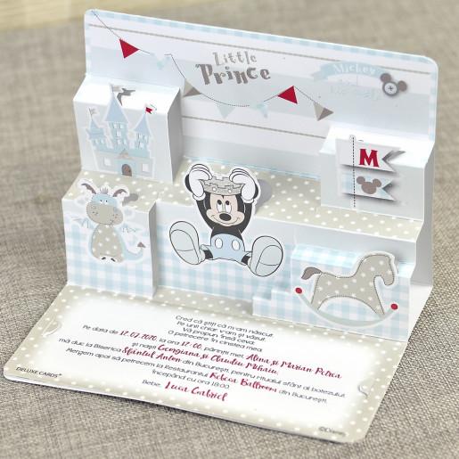 Invitatie de botez 3D cu Mickey Mouse 15702 DELUXE