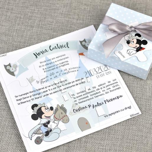 Invitatie de botez tip puzzle cu Mickey Mouse 15707 DELUXE