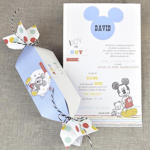Invitatie de botez tip bomboana cu Mickey Mouse 15721 DELUXE