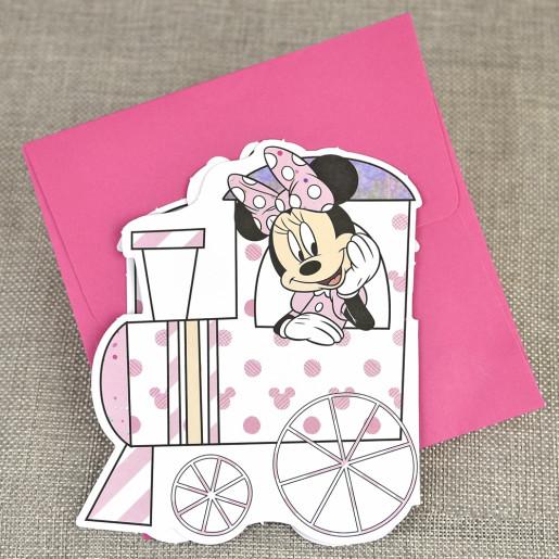 Invitatie de botez Minnie Mouse in tren 15722 DELUXE