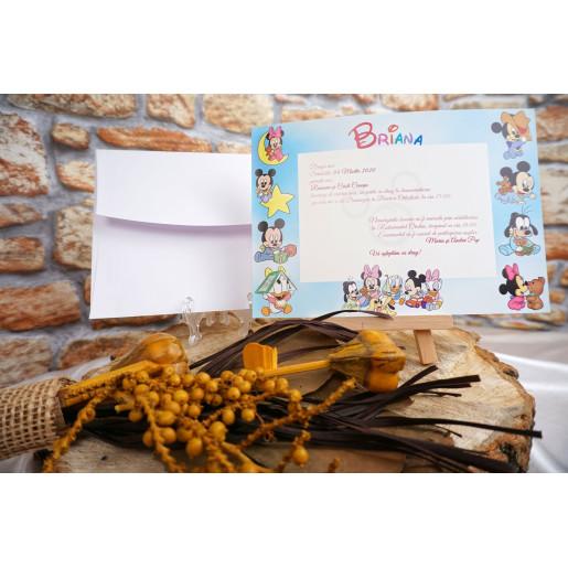 Invitatie de botez cu personaje Disney 18002B