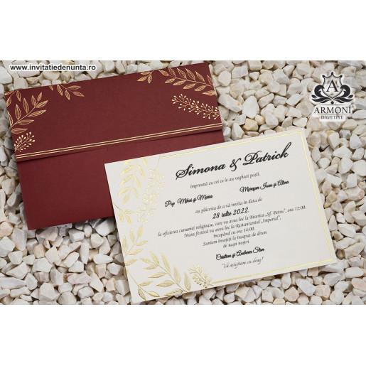 Invitatie burgundy cu frunze 19318 ARMONI
