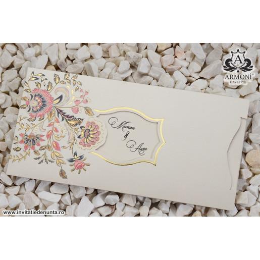 Invitatie florala cu accente roz 19322 ARMONI