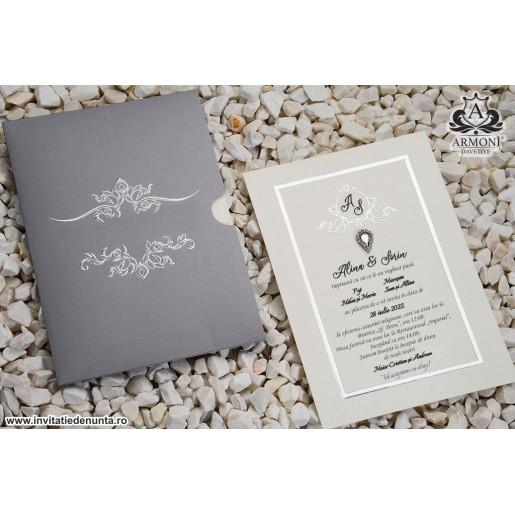Invitatie argintie cu cristal 19323 ARMONI
