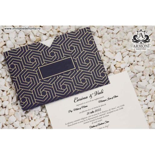 Invitatie texturata cu model hexagonal 19344 ARMONI