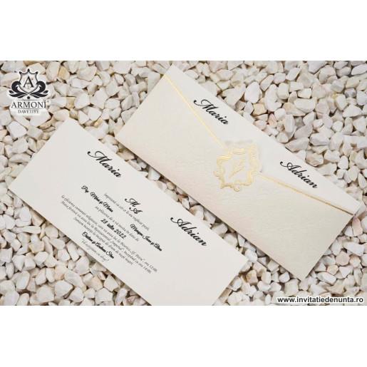 Invitatie texturata cu detalii aurii 19353 ARMONI