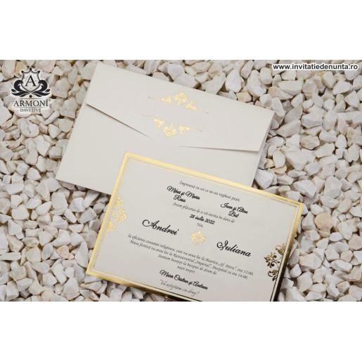 Invitatie eleganta cu detalii aurii 19358 ARMONI