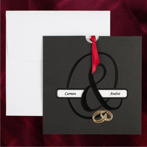 Invitatie de nunta eleganta negru si auriu 115425 TBZ