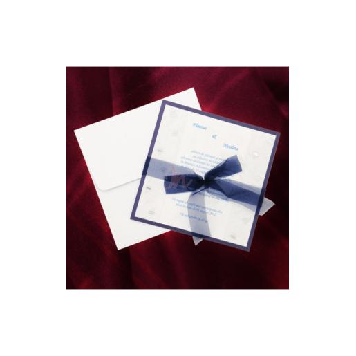 Invitatie de nunta cu chenar si fundita albastra 125012 TBZ