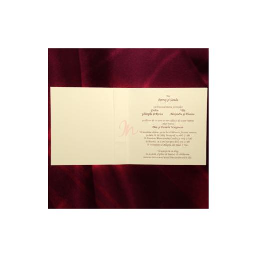 Invitatie cu foaie de calc aurie cu fundita 150017 TBZ