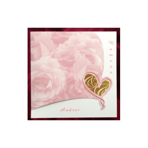 Invitatie de nunta cu trandafiri roz si inimioara aurie 150042 TBZ