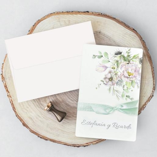 Invitatie cu model floral liliachiu 39721 CLARA