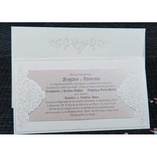 Invitatie de nunta crem cu model sidef 20420 STYLISH
