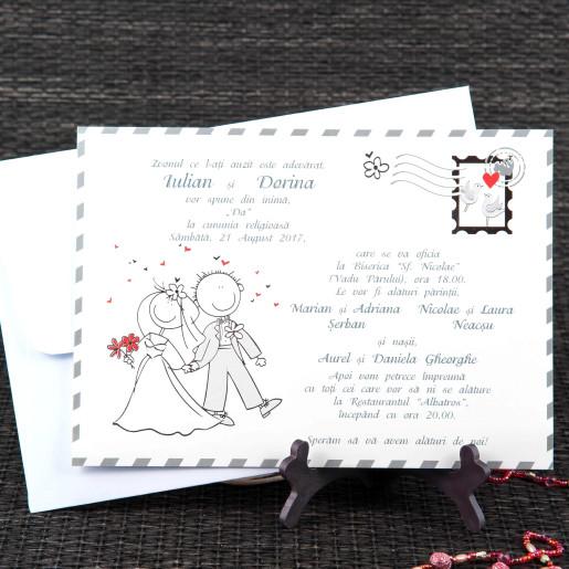 Invitatie de nunta carte postala haioasa 20440 STYLISH