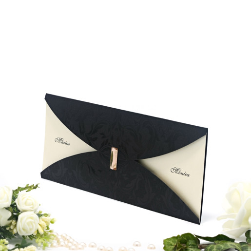 Invitatie de nunta eleganta cu insertii florale sidefate 2103 TBZ